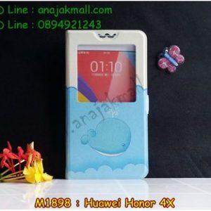 M1898-04 เคสโชว์เบอร์ Huawei Honor 4X ลายปลาวาฬ