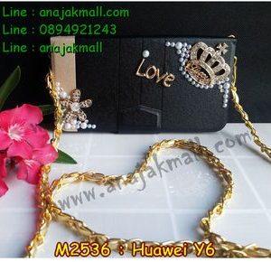 M2536-03 เคสกระเป๋า Huawei Y6 ลายมงกุฎรัก