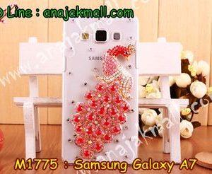M1775-06 เคสประดับ Samsung Galaxy A7 ลายนกยูงแดง