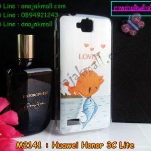 M2141-02 เคสแข็ง Huawei Honor 3C Lite ลาย Cat & Fish