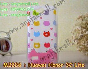M2228-03 เคสยาง Huawei Honor 3C Lite ลายแมวหลากสี