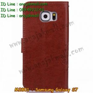 M2801-03 เคสฝาพับ Samsung Galaxy S7 สีน้ำตาลเข้ม