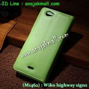 M1462-04 เคสฝาพับ Wiko Highway Signs สีเขียว
