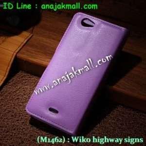M1462-05 เคสฝาพับ Wiko Highway Signs สีม่วง
