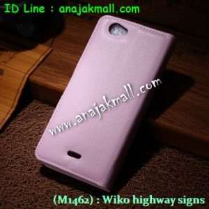 M1462-08 เคสฝาพับ Wiko Highway Signs สีชมพู