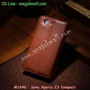 M1646-02 เคสฝาพับ Sony Xperia Z3 Compact สีน้ำตาล