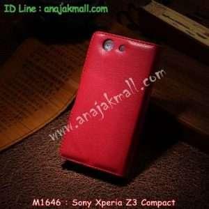 M1646-03 เคสฝาพับ Sony Xperia Z3 Compact สีแดง