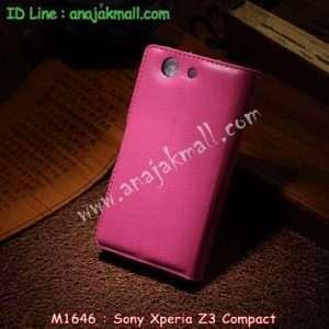 M1646-06 เคสฝาพับ Sony Xperia Z3 Compact สีกุหลาบ