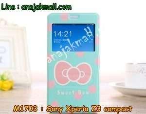 M1703-07 เคสโชว์เบอร์ Sony Xperia Z3 Compact ลาย Sweet Bow