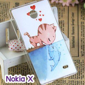 M748-05 เคสแข็ง Nokia X ลาย Cat & Fish
