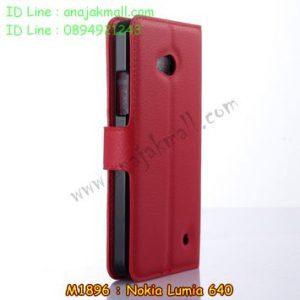 M1896-05 เคสหนังฝาพับ Nokia Lumia 640 สีแดง