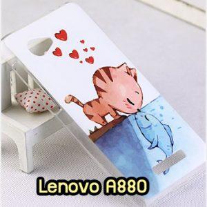 M1344-10 เคสแข็ง Lenovo A880 ลาย Cat & Fish