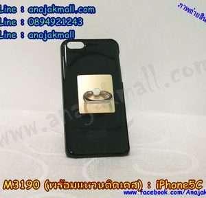 M3190-03 เคสแข็งสีดำ iPhone 5C พร้อมแหวนสีทอง M101R02
