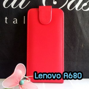 M1102-02 เคสหนังเปิดขึ้น-ลง Lenovo A680 สีแดง