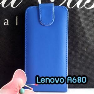 M1102-03 เคสหนังเปิดขึ้น-ลง Lenovo A680 สีน้ำเงิน