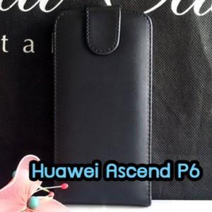 M1091-01 เคสหนังเปิดขึ้น-ลง Huawei Ascend P6 สีดำ