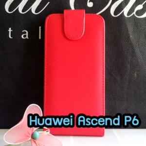 M1091-02 เคสหนังเปิดขึ้น-ลง Huawei Ascend P6 สีแดง