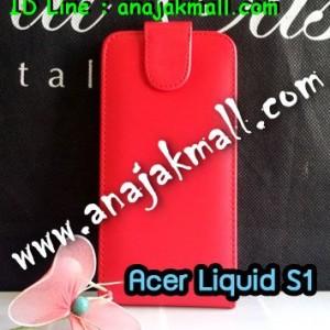 M1103-02 เคสหนังเปิดขึ้น-ลง Acer Liquid S1 สีแดง