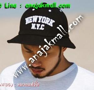 CapW36-02 หมวกปีกรอบ New York สีดำ