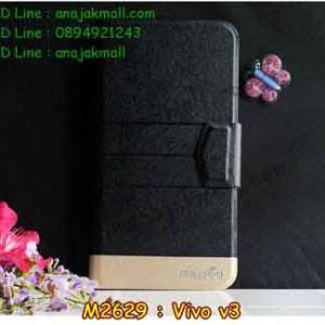 M2629-02 เคสหนังฝาพับ Vivo V3 สีดำ