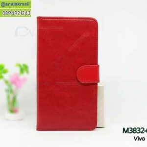 M3832-01 เคสฝาพับไดอารี่ Vivo V9 สีแดงเข้ม