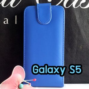 M1220-02 เคสหนังเปิดขึ้นลง Samsung Galaxy S5 สีน้ำเงิน