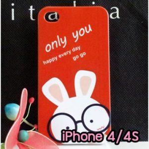 M734-12 เคสแข็ง iPhone 4S/4 ลาย Red Rabbit