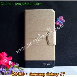 M1883-01 เคสหนังฝาพับ Samsung Galaxy J7 สีทอง