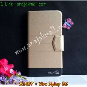 M1697-01 เคสหนังฝาพับ Vivo Xplay 3S สีทอง