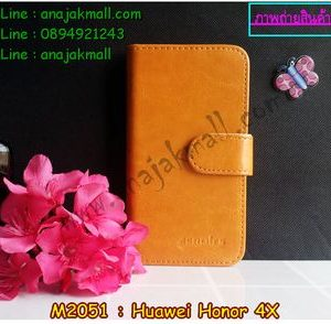 M2051-01 เคสไดอารี่ Huawei Honor 4X สีน้ำตาล