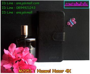 M2051-02 เคสไดอารี่ Huawei Honor 4X สีดำ