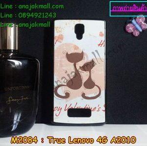 M2084-01-1 เคสแข็งดำ True Lenovo 4G A2010 ลาย Happy Cat