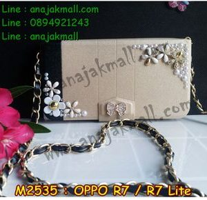 M2535-01 เคสกระเป๋า OPPO R7/R7 Lite ลาย White Flower