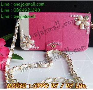M2535-02 เคสกระเป๋า OPPO R7/R7 Lite ลาย Two Flower