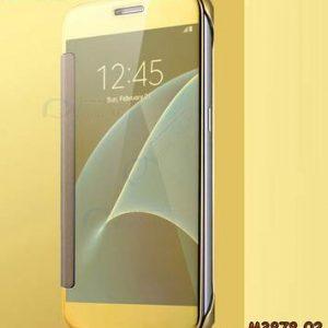 M3878-02 เคสฝาพับ Samsung Galaxy A8 Plus 2018 กระจกเงา สีทอง