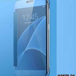 M3878-04 เคสฝาพับ Samsung Galaxy A8 Plus 2018 กระจกเงา สีฟ้า