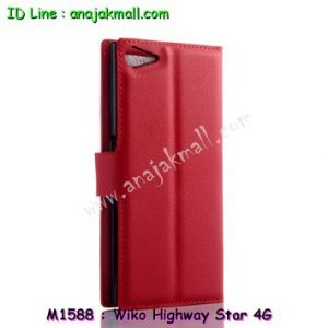 M1588-02 เคสฝาพับ Wiko Highway Star 4G สีแดง