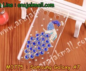 M1775-05 เคสประดับ Samsung Galaxy A7 ลายนกยูงน้ำเงิน