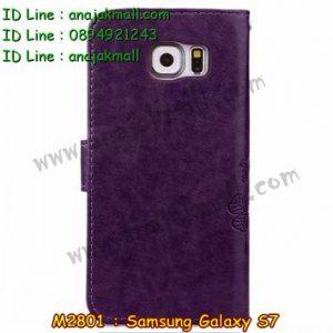 M2801-01 เคสฝาพับ Samsung Galaxy S7 สีม่วง