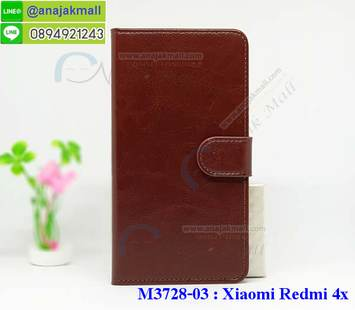 M3728-03 เคสฝาพับไดอารี่ Xiaomi Redmi 4X สีน้ำตาล