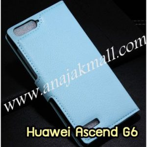 M1015-04 เคสฝาพับ Huawei Ascend G6 สีฟ้า