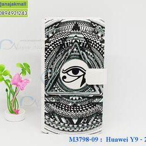 M3798-09 เคสฝาพับ Huawei Y9 2018 ลาย Black Eye
