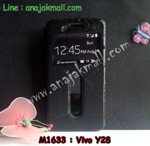 M1633-01 เคสหนังโชว์เบอร์ Vivo Y28 สีดำ