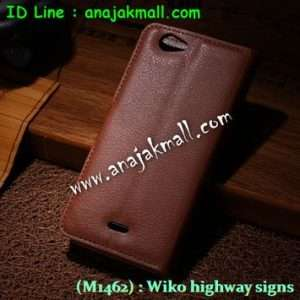M1462-01 เคสฝาพับ Wiko Highway Signs สีน้ำตาล