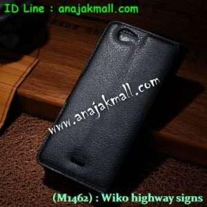 M1462-03 เคสฝาพับ Wiko Highway Signs สีดำ
