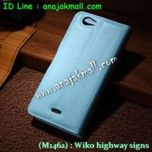 M1462-07 เคสฝาพับ Wiko Highway Signs สีฟ้า