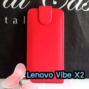 M1418-01 เคสเปิดขึ้น-ลง Lenovo Vibe X2 สีแดง