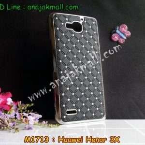 M1713-01 เคสแข็งประดับ Huawei Honor 3X สีดำ