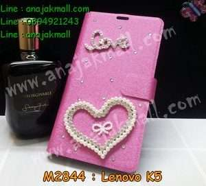 M2844-13 เคสฝาพับคริสตัล Lenovo K5 ลาย Love Heart