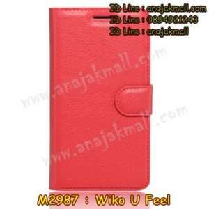 M2987-06 เคสฝาพับ Wiko U Feel สีแดง